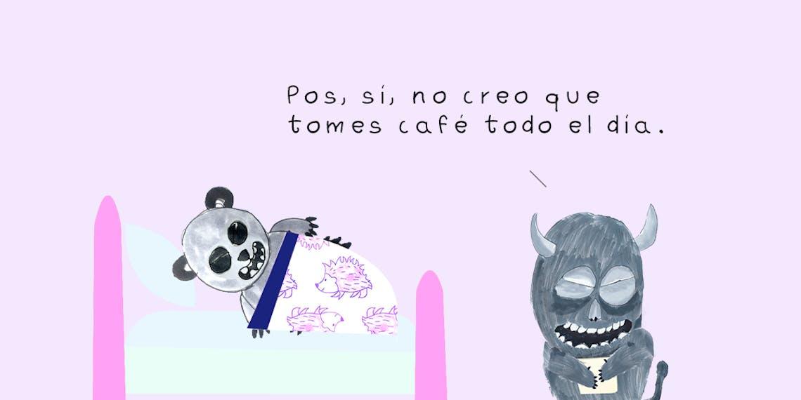 Garitma, monstruo hablando a oso panda acostado en cama, cómic dibujo marcador sobre papel