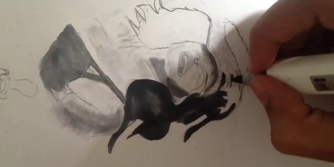 Garitma, mujer llorando, dibujo cámara rápida marcador sobre papel