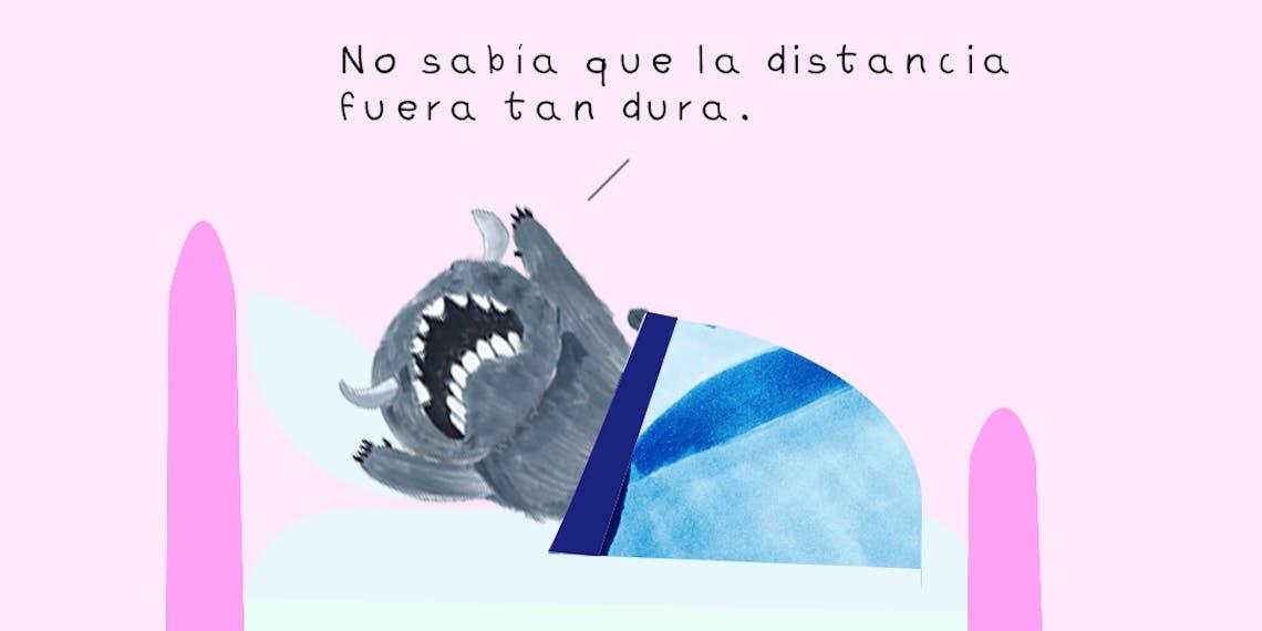 Garitma, monstruo llorando en su cama, cómic dibujo marcador sobre papel