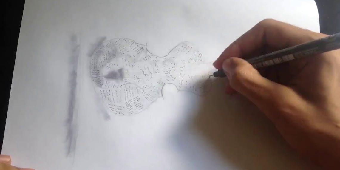 Garitma, violín de papel, dibujo cámara rápida marcador sobre papel