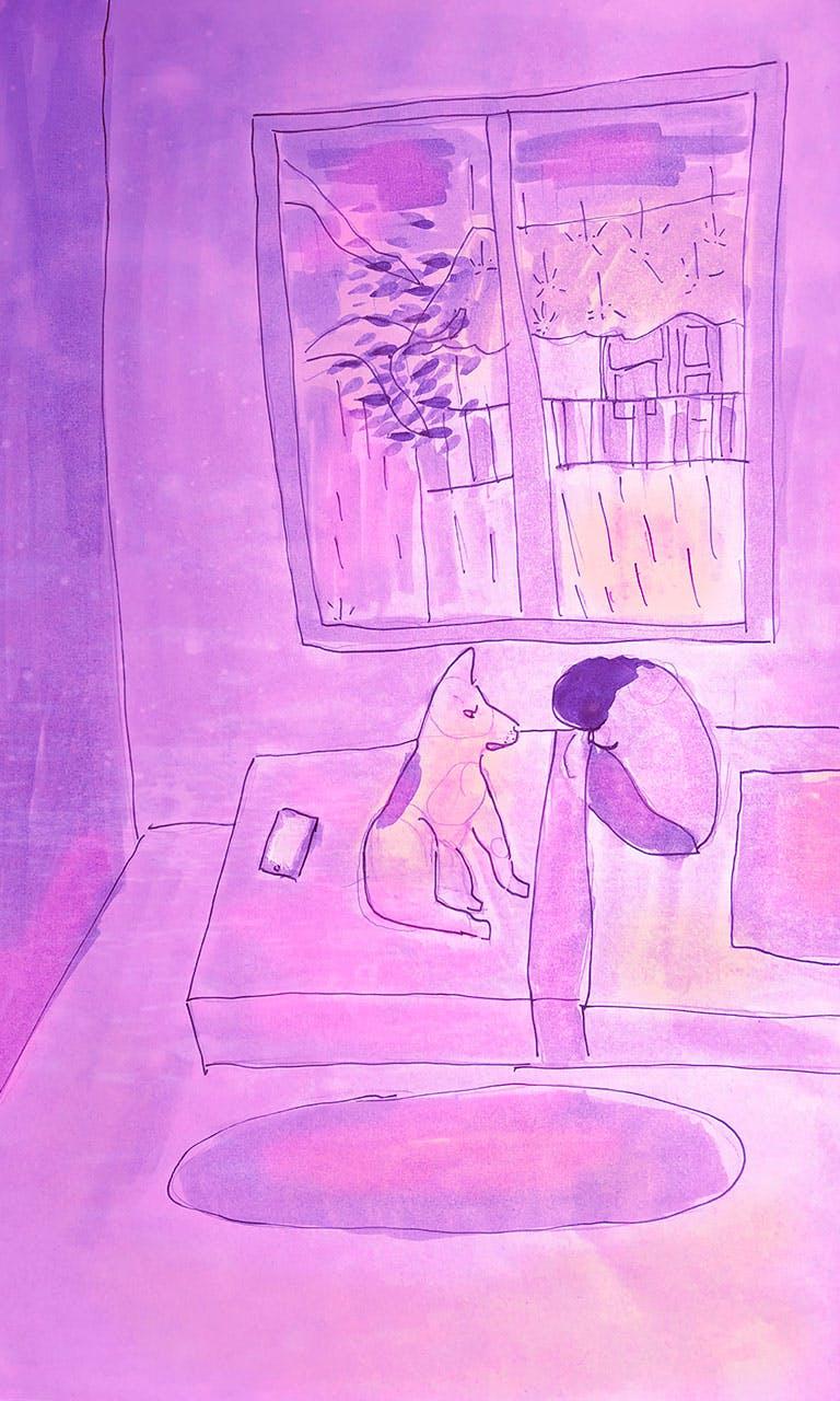 Garitma, fondo de pantalla para celular joven en la noche lluviosa con perro, dibujo marcador sobre papel
