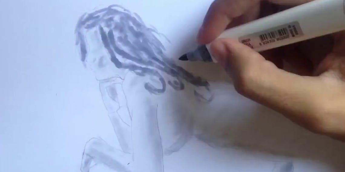 Garitma, mujer desnuda mirando por el balcón, dibujo cámara rápida marcador sobre papel
