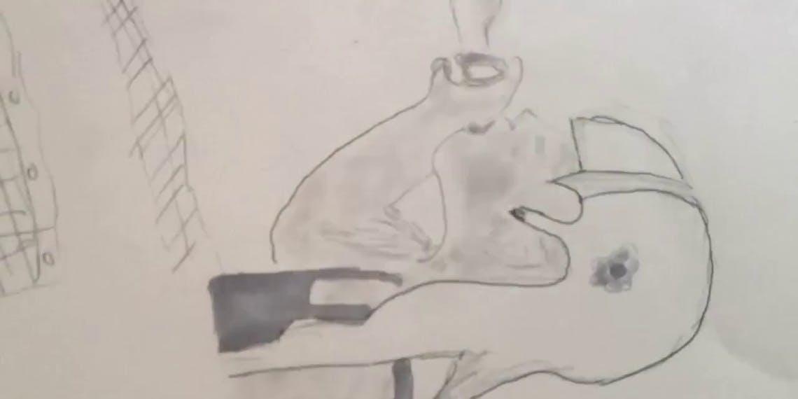 Garitma, niña soplando una burbuja, dibujo cámara rápida marcador sobre papel