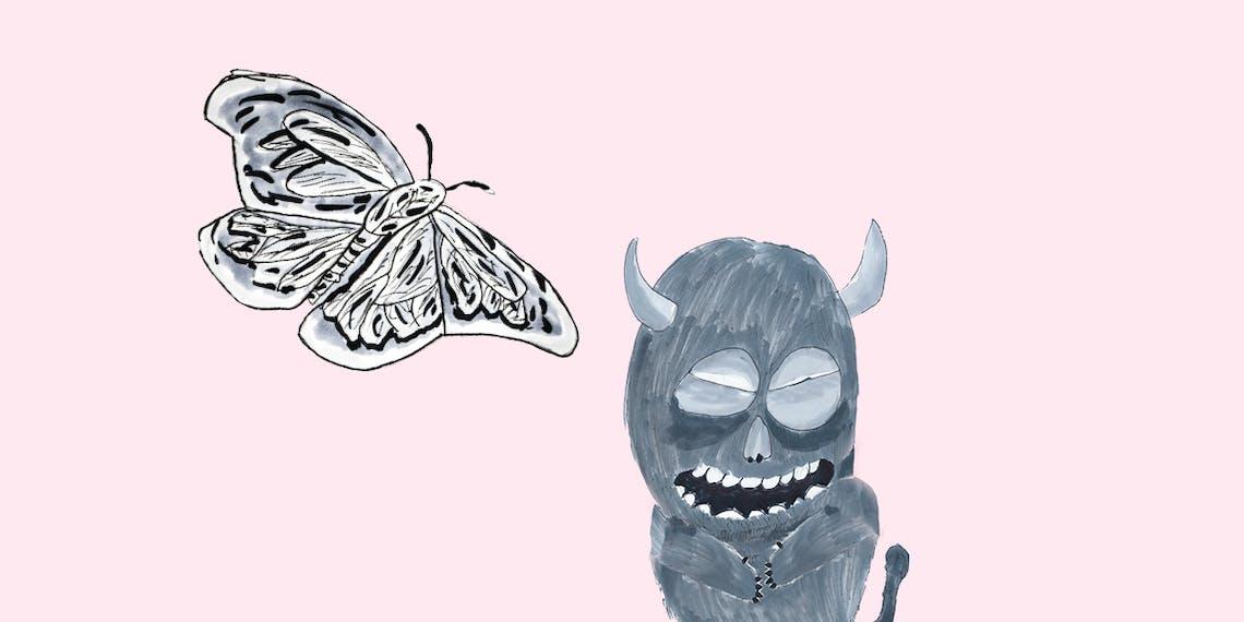 Garitma, Mariposa gigante se acerca a mosntruo, cómic dibujo marcador sobre papel