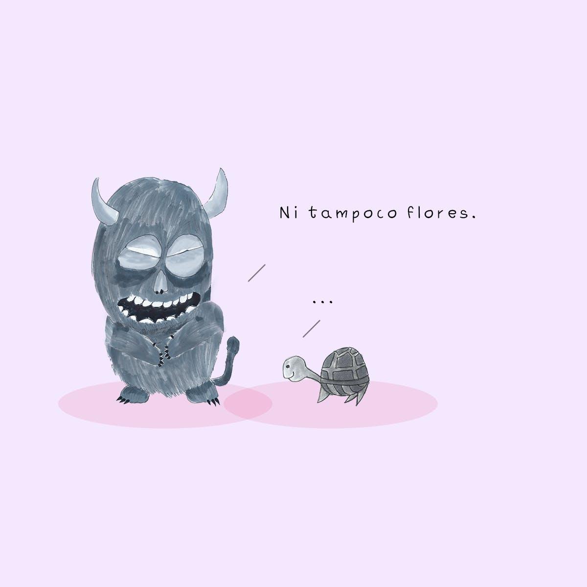 Garitma, Monstruo riendo hablando con tortuga, cómic dibujo marcador sobre papel