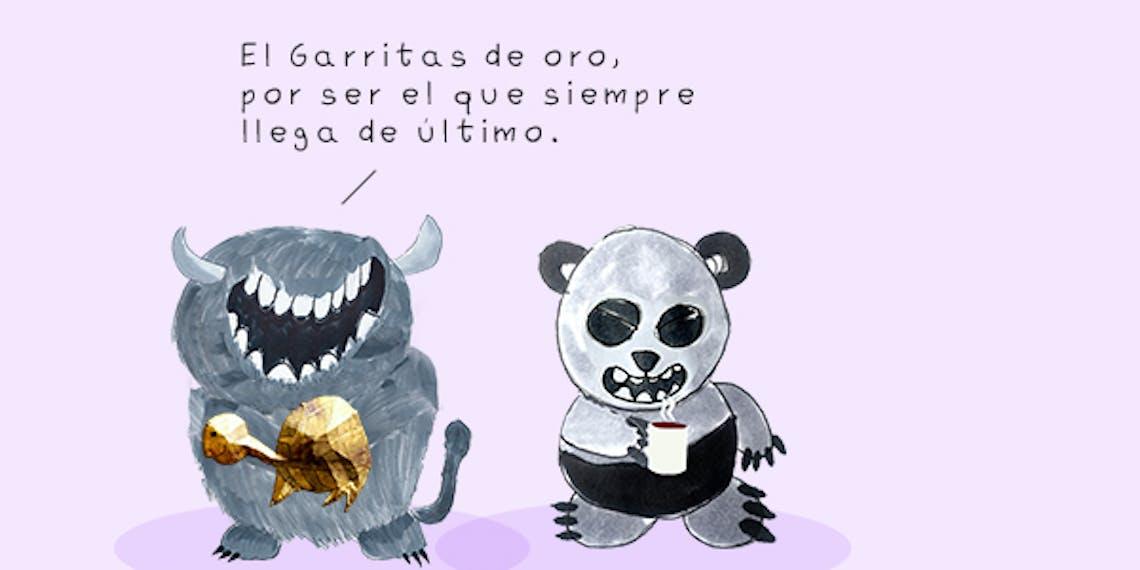 Garitma, monstruo entregando tortuga de oro a  oso panda,cómic dibujo marcador sobre papel