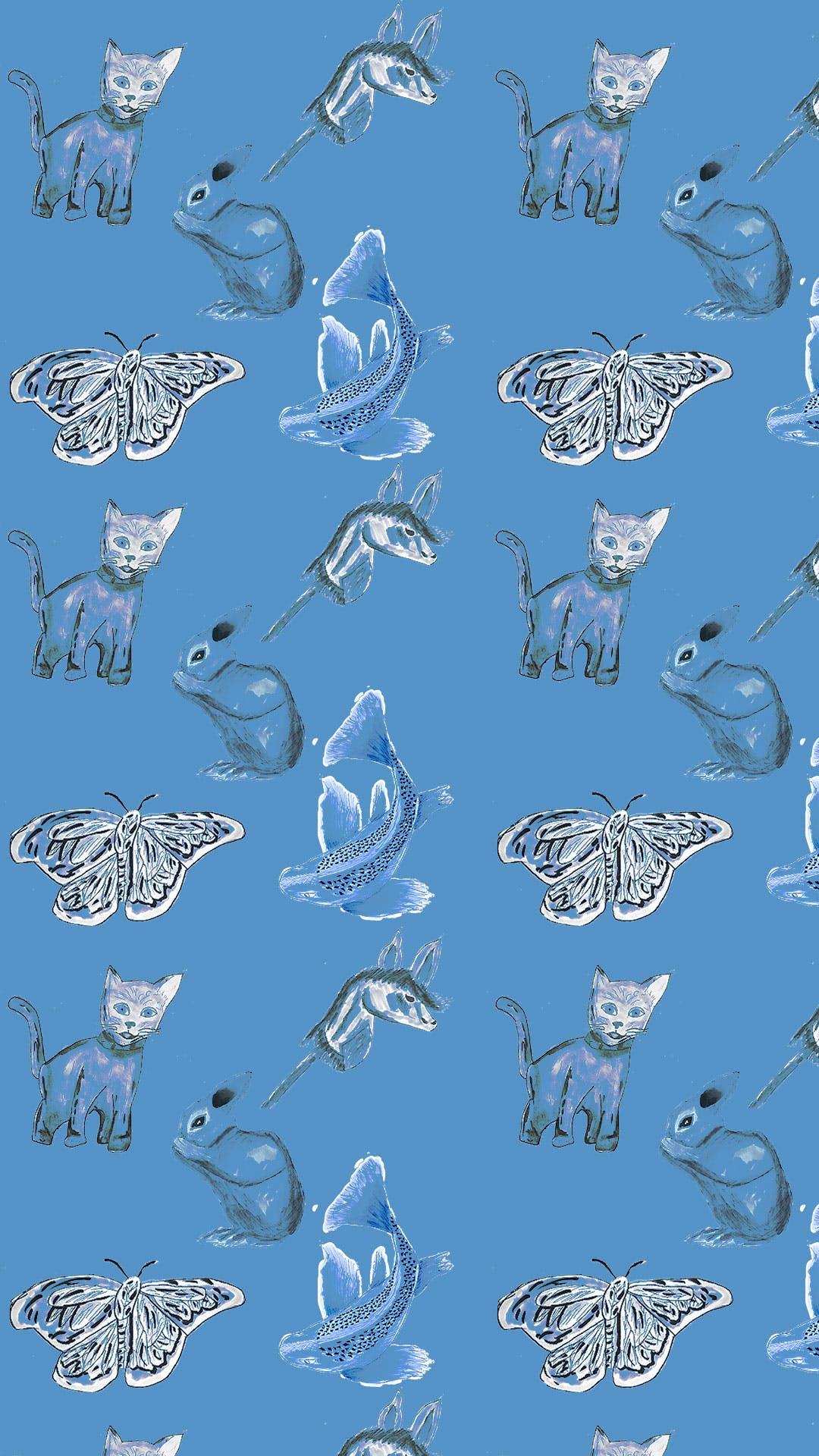 Garitma, fondo de pantalla para celular patrón de gato, conejo, pez y caballo de madera , dibujo marcador sobre papel