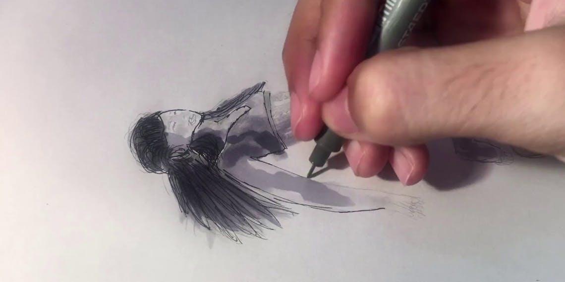 Garitma, mujer flotando, dibujo cámara rápida marcador sobre papel