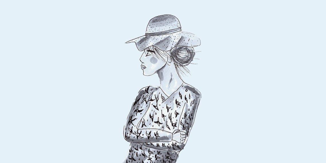 Garitma, mujer con sombrero y camisa de flores mirando al horizonte, dibujo marcador sobre papel