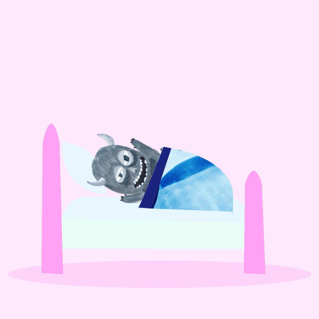 Garitma, Monstro despierta enojado en su cama, cómic dibujo marcador sobre papel
