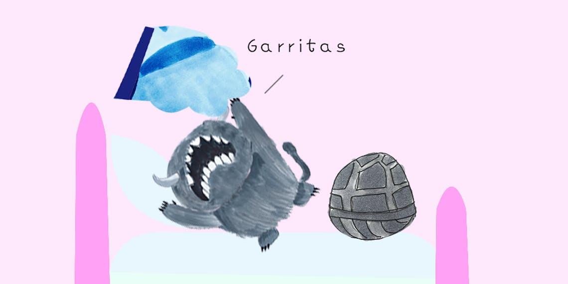 Garitma, Monstro descubre tortuga en su cama, cómic dibujo marcador sobre papel
