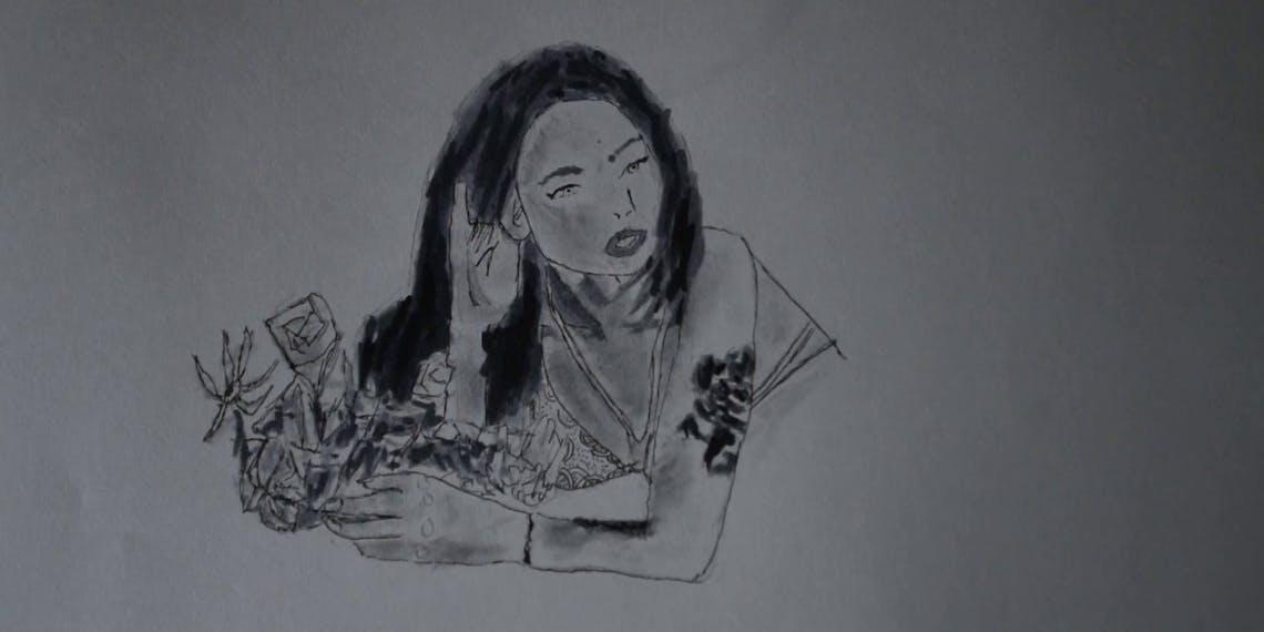 Garitma, mujer tatuada con flores, dibujo cámara rápida marcador sobre papel