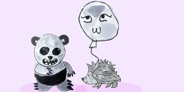Garitma, panda entregando globo a cuerpo espín, cómic dibujo marcador sobre papel