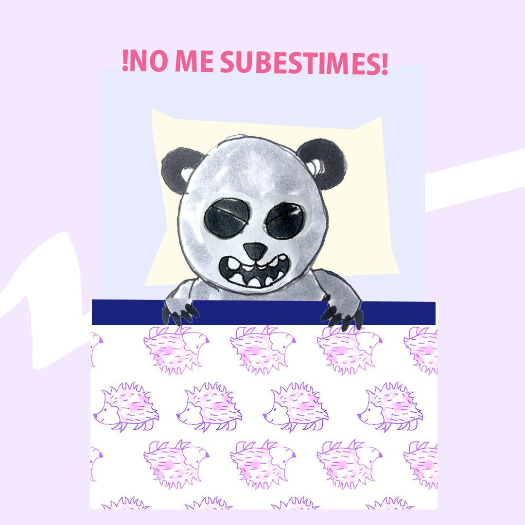 Garitma, oso panda acostado en cama, cómic dibujo marcador sobre papel