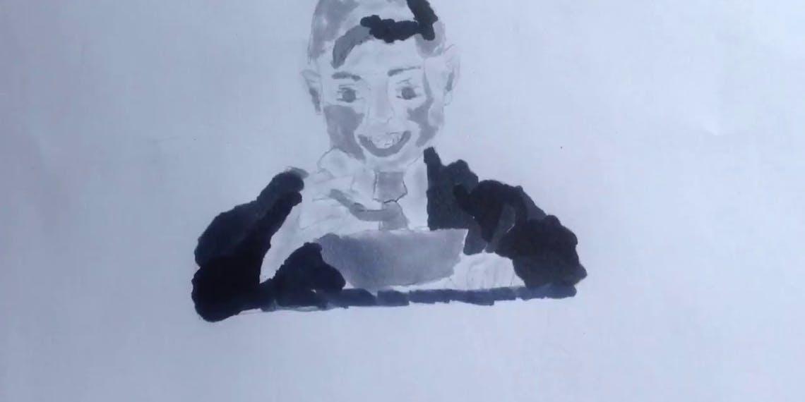 Garitma, niño comiendo cereal, dibujo cámara rápida marcador sobre papel