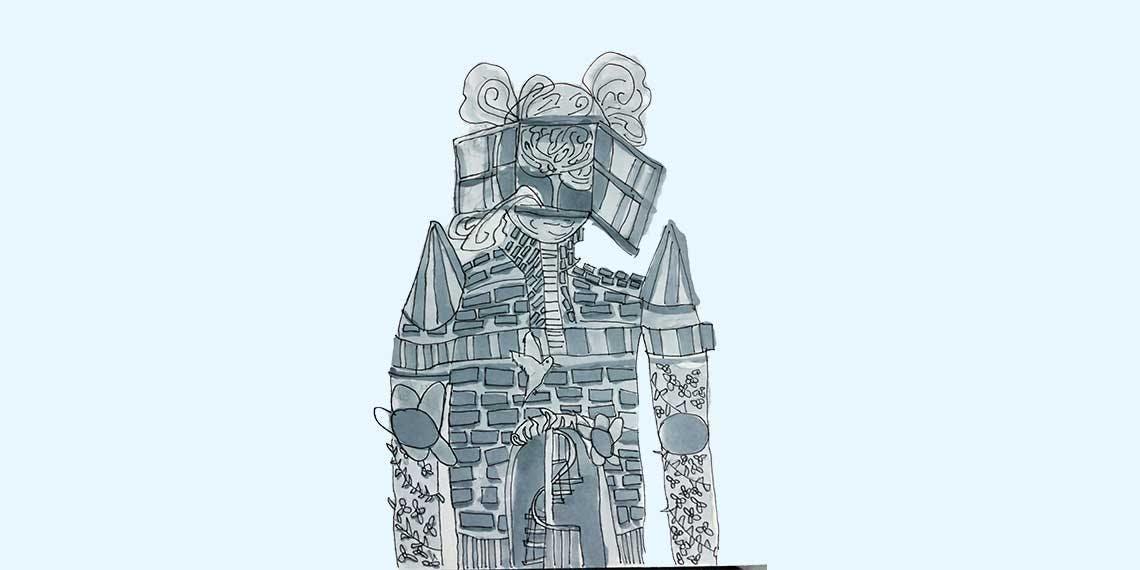 Garitma, Hombre con ventana en la cara, fantasía, dibujo marcador sobre papel