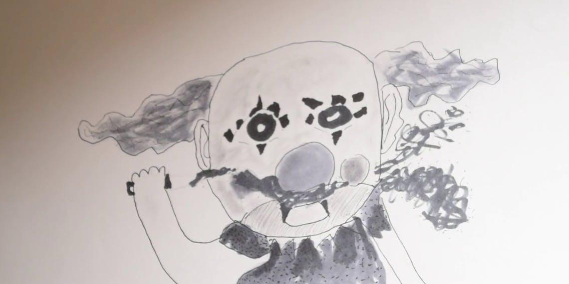 Garitma, payaso asesino, dibujo cámara rápida marcador sobre papel