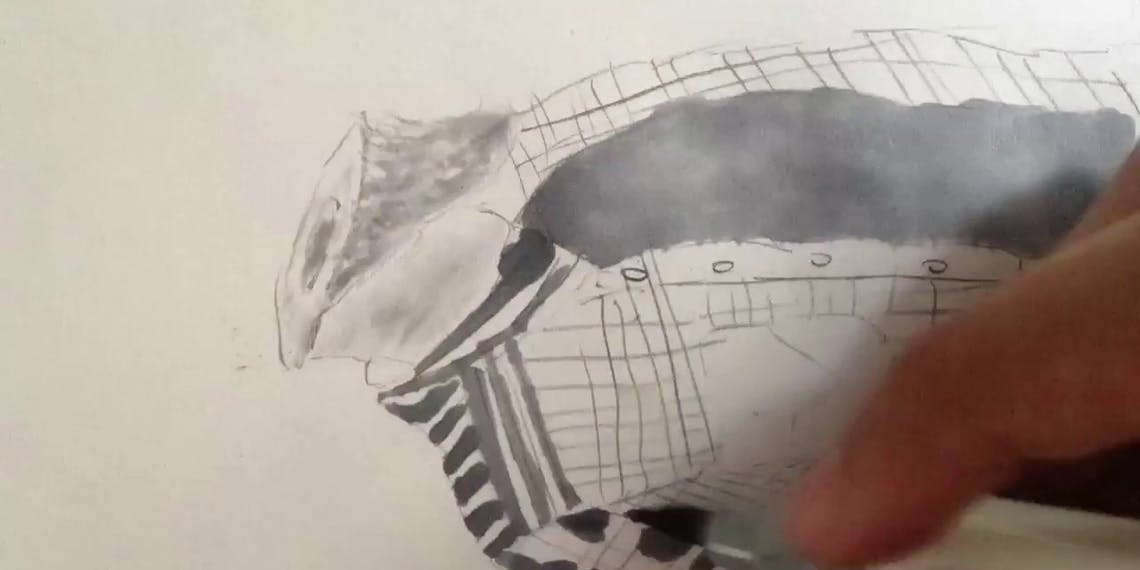 Garitma, hombre sin cabeza, dibujo cámara rápida marcador sobre papel