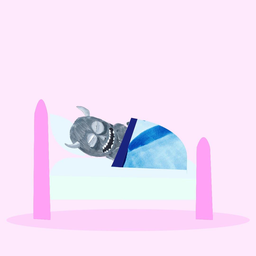 Garitma, Monstro dormido en su cama, cómic dibujo marcador sobre papel