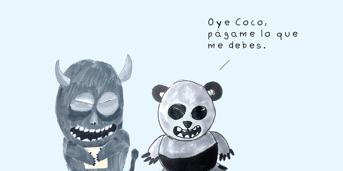 Garitma, Monstruo con papel hablando con oso panda,cómic dibujo marcador sobre papel
