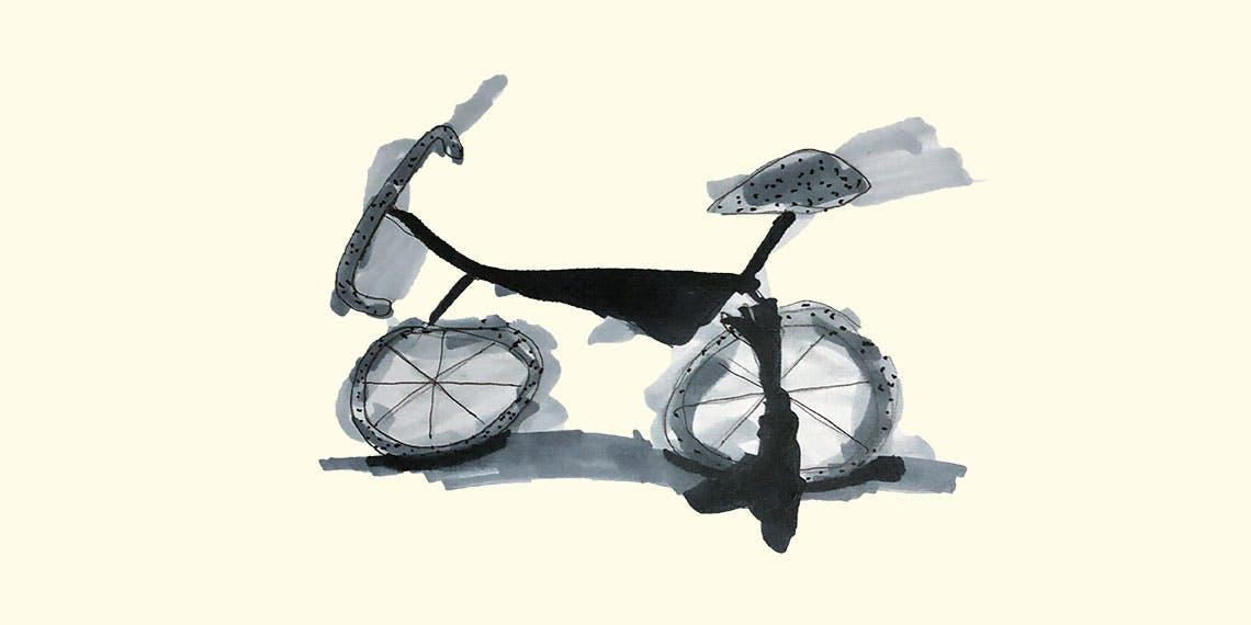 Garitma, bicicleta deforme, dibujo marcador sobre papel