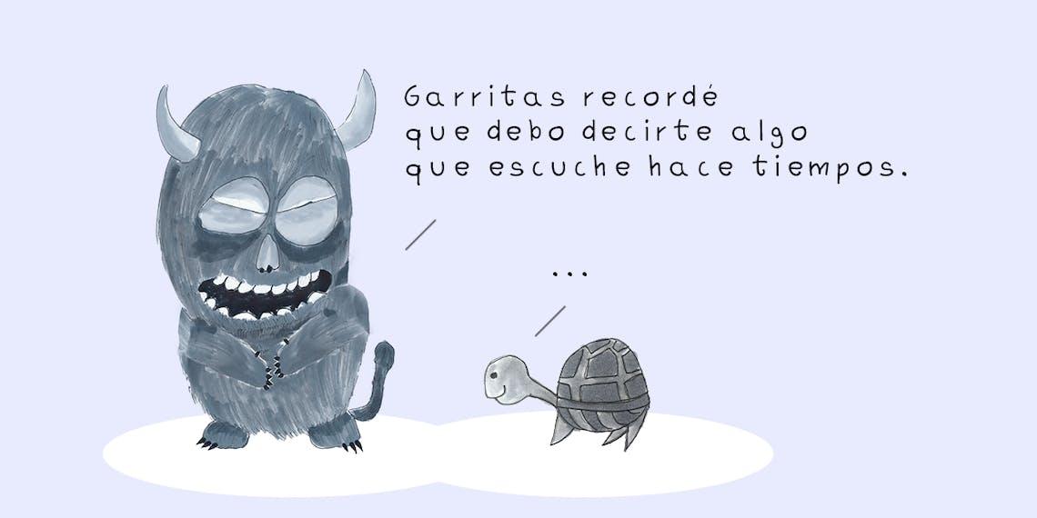 Garitma, monstruo hablando con tortuga, cómic dibujo marcador sobre papel