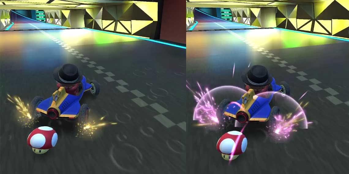 Cómo activar el derrape manual en Mario Kart Tours para hacer ultraminiturbos. Chispas rosa en derrape.