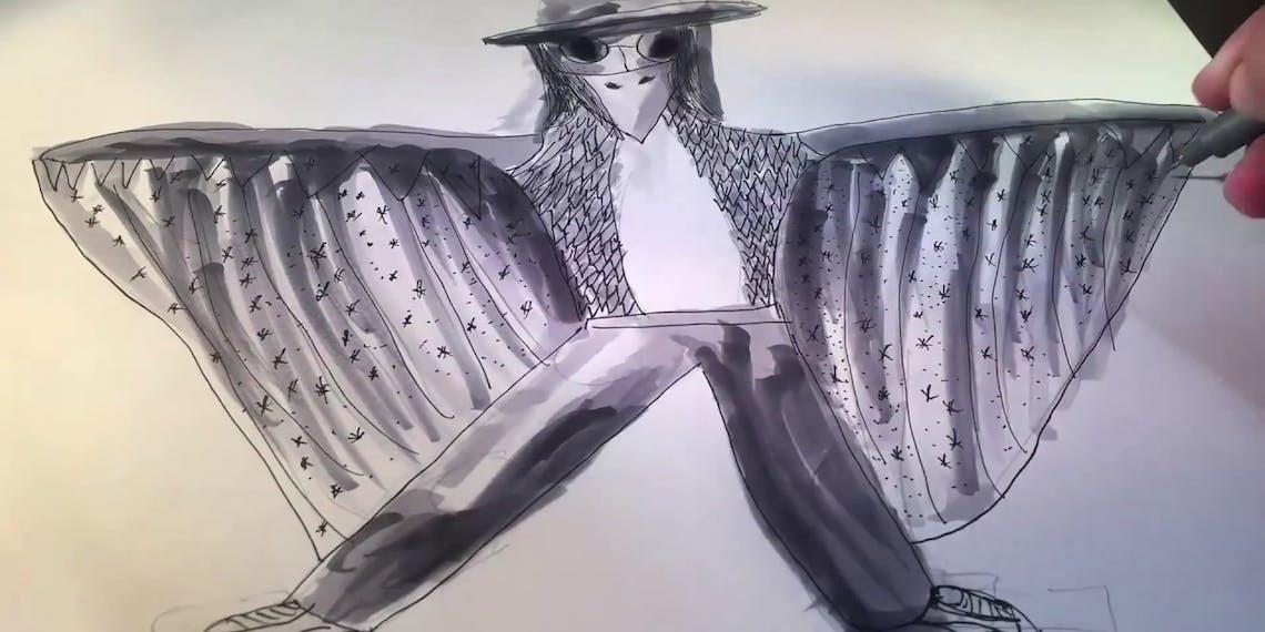 Garitma, hombre pájaro, dibujo cámara rápida marcador sobre papel