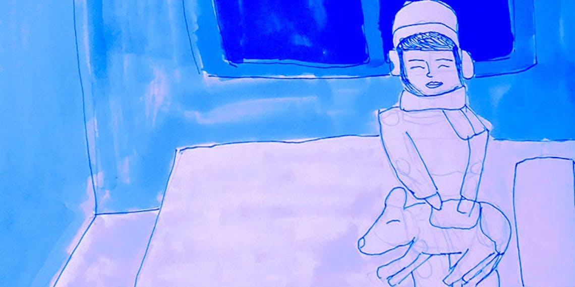 Garitma, fondo de pantalla para celular joven en la noche con perro, dibujo marcador sobre papel