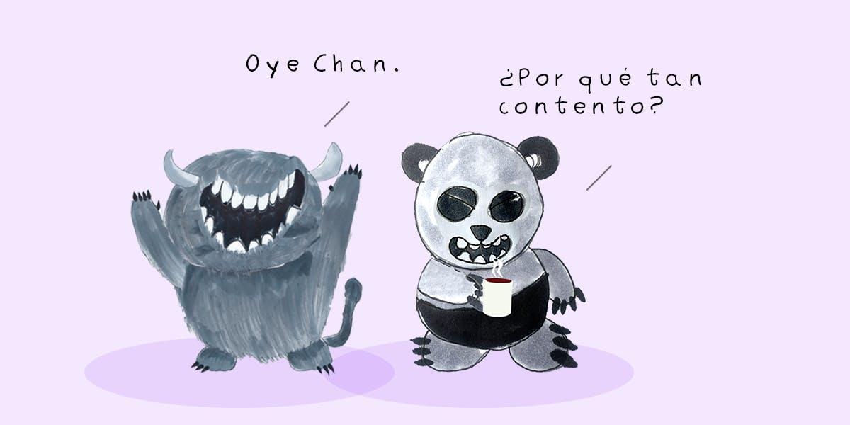 Garitma, Monstruo celebrando mientras oso panda toma café, cómic dibujo marcador sobre papel