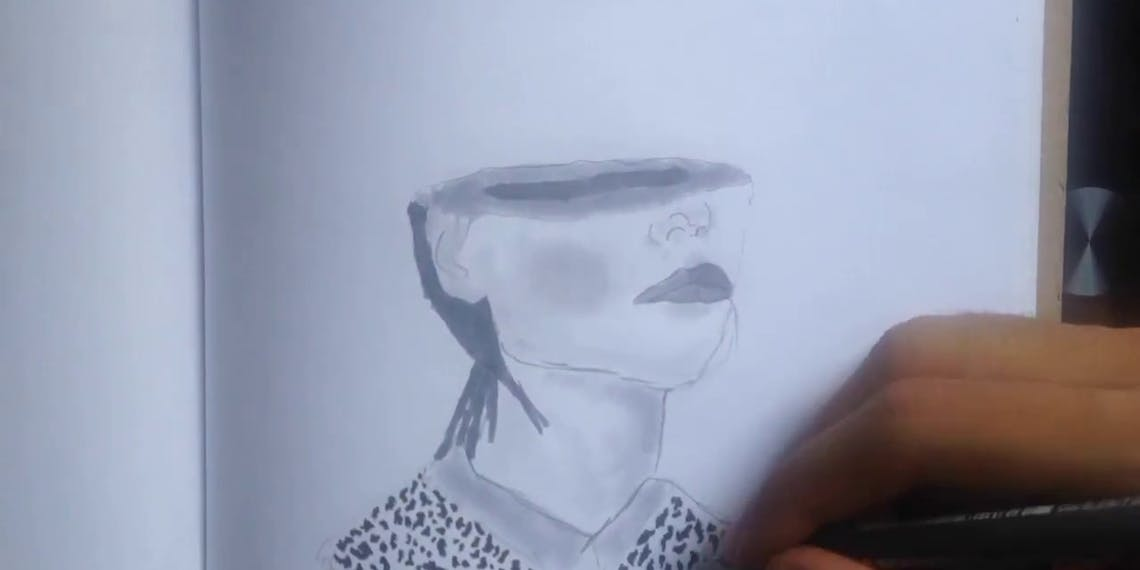 Garitma, mujer sin media cara, dibujo cámara rápida marcador sobre papel