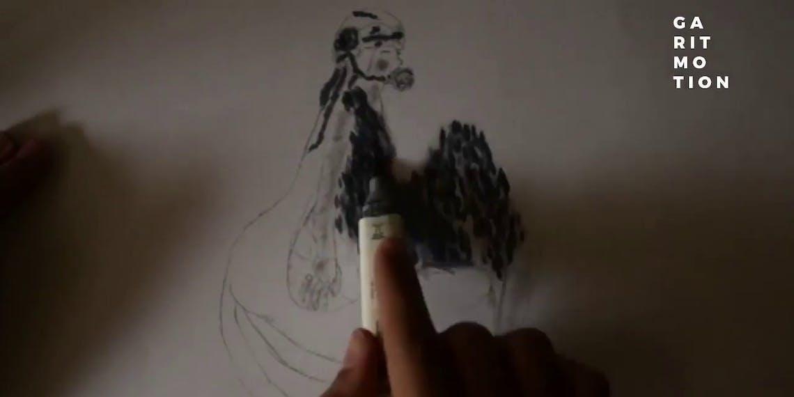 Garitma, mujer con rosa en la boca, dibujo cámara rápida marcador sobre papel