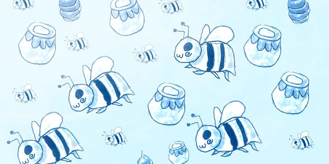 Garitma, fondo de pantalla para celular patrón de abejas, dibujo marcador sobre papel