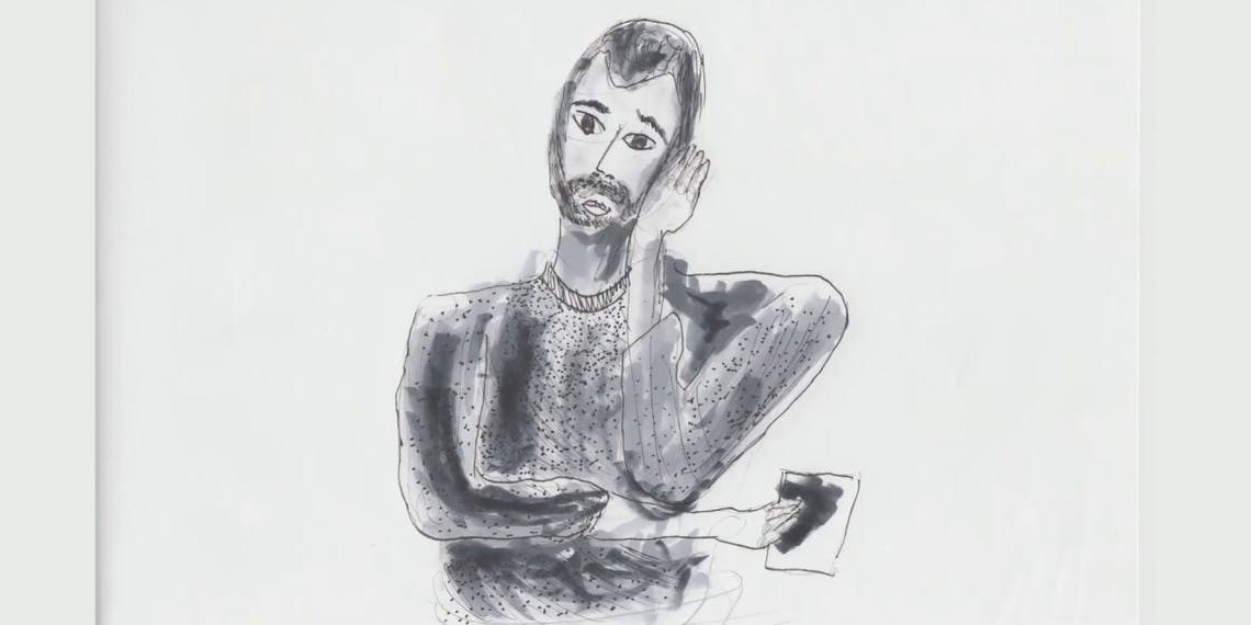 Garitma, hombre aburrido, dibujo cámara rápida marcador sobre papel