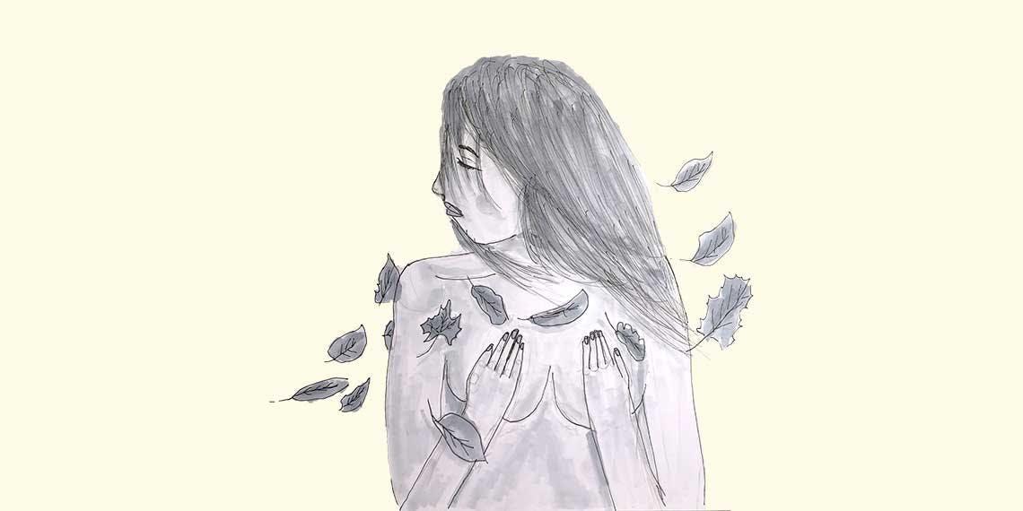 Garitma, Mujer desnuda de perfil tapandoce los pecho con hojas a su alrededor, dibujo marcador sobre papel