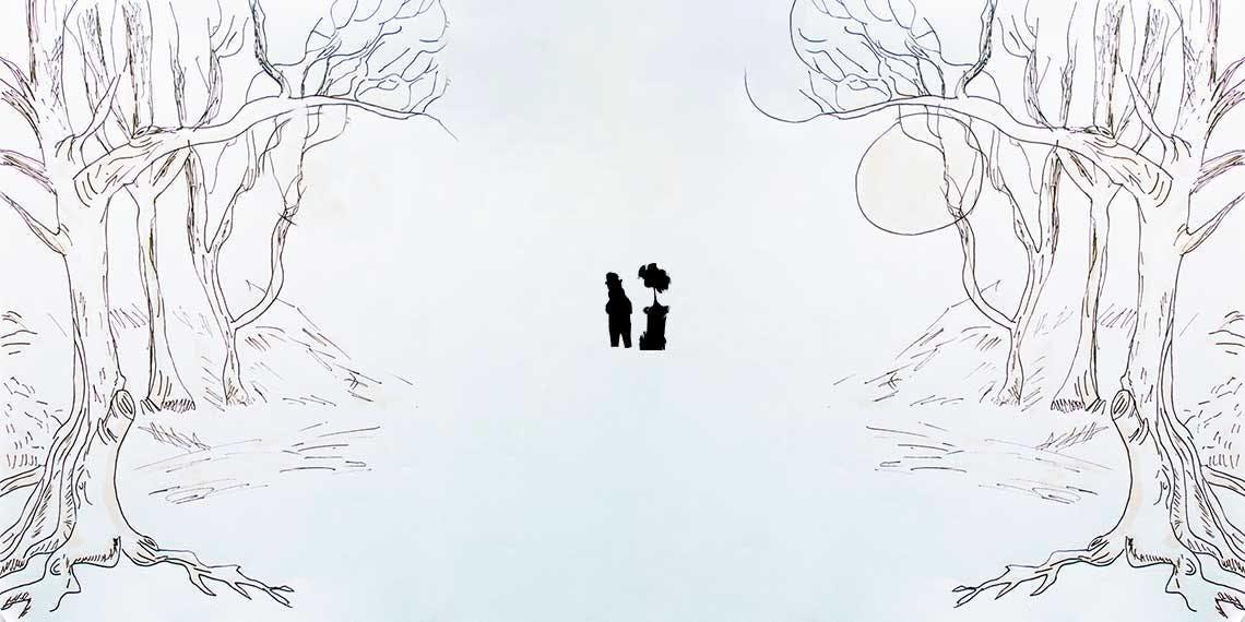 Garitma, Dibujo de dos personas perdiéndose en el bosque, marcador sobre papel.
