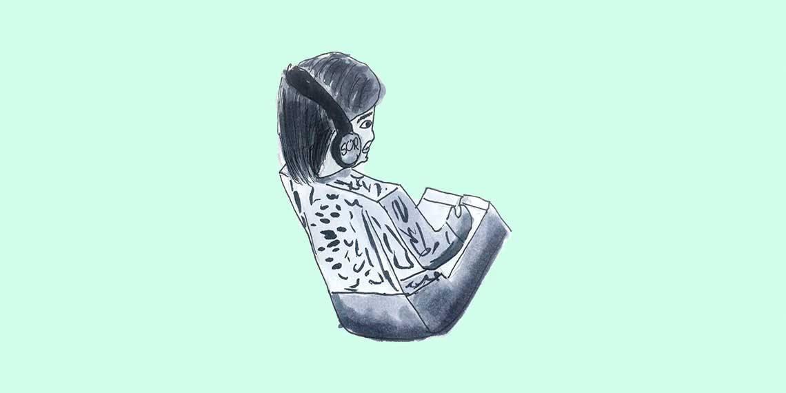 Garitma, niño con cuerpo de lego con audifonos puestos, dibujo marcador sobre papel