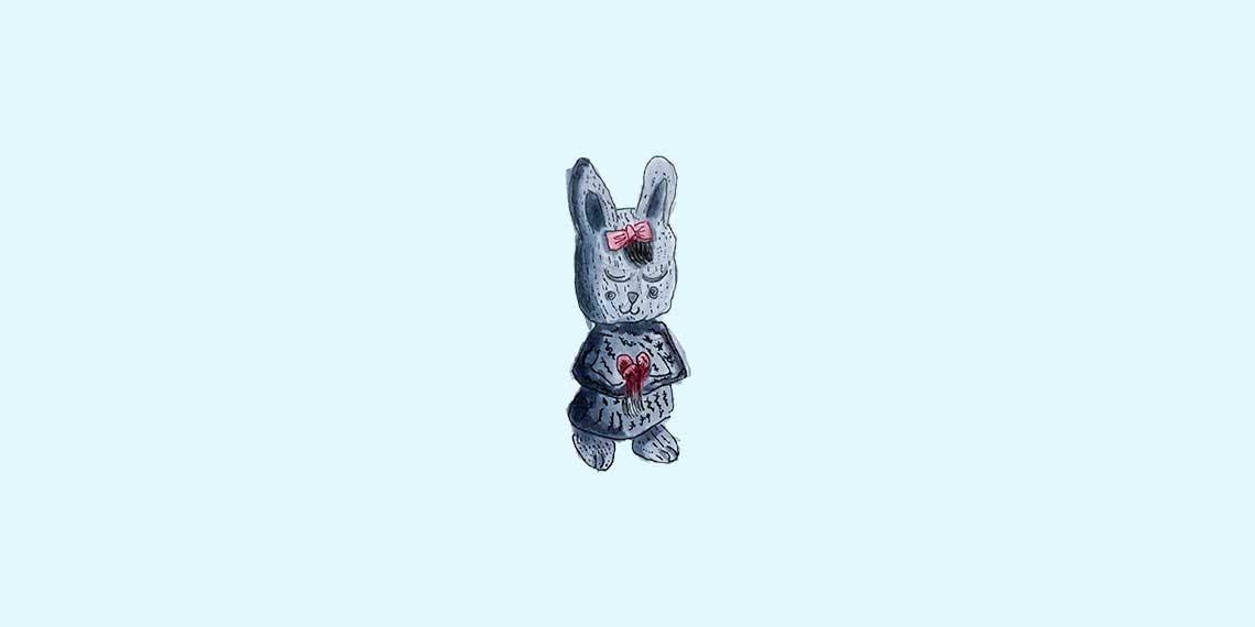 Garitma, conejo con ojos cerrados y moño rosado en la cabeza con un corazón en las manos, dibujo marcador sobre papel