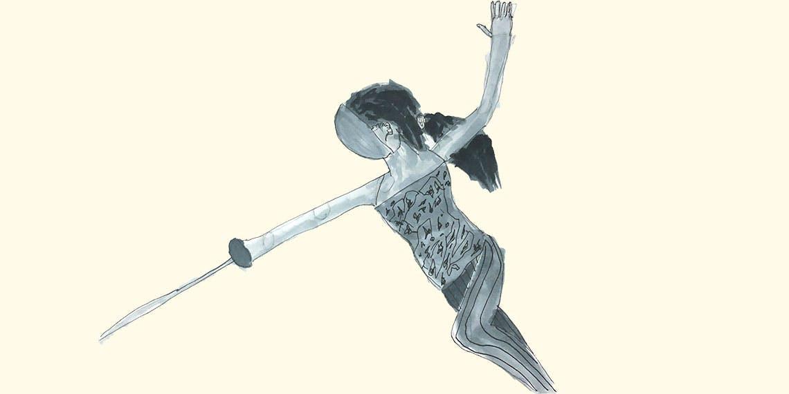 Garitma, mujer esgrima, dibujo marcador sobre papel