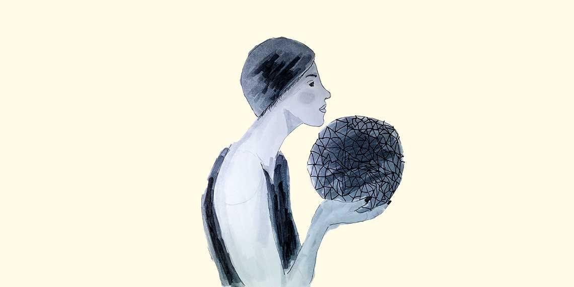 Garitma, mujer sosteniendo una bola en sus manos, dibujo marcador sobre papel