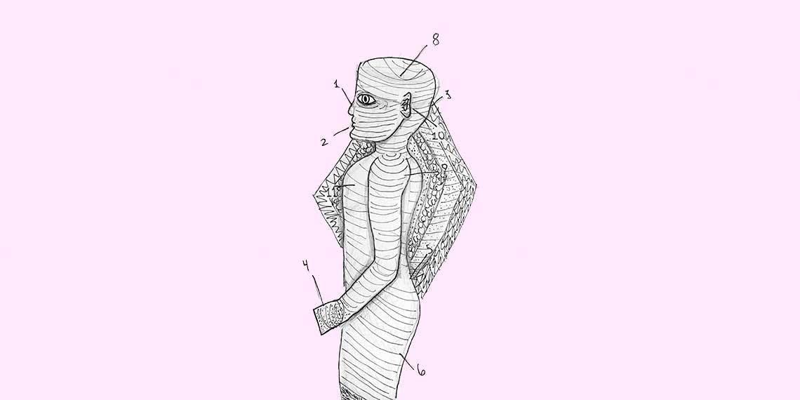Garitma, señalización del cuerpo de una persona con rayas horizontales, dibujo marcador sobre papel