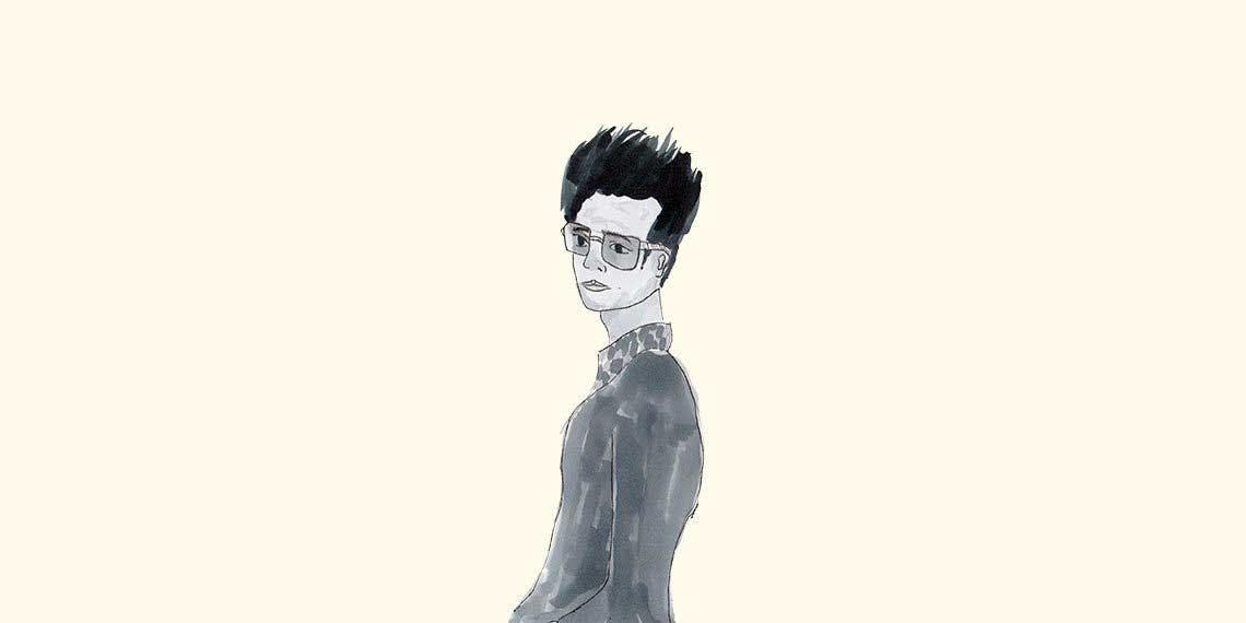 Garitma, hombre con gafas y pelo parado, dibujo marcador sobre papel