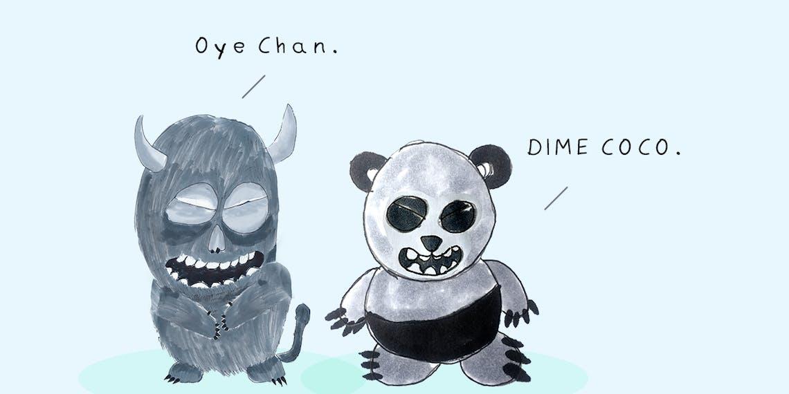 Garitma, Monstruo hablando mientras oso panda toma, cómic dibujo marcador sobre papel