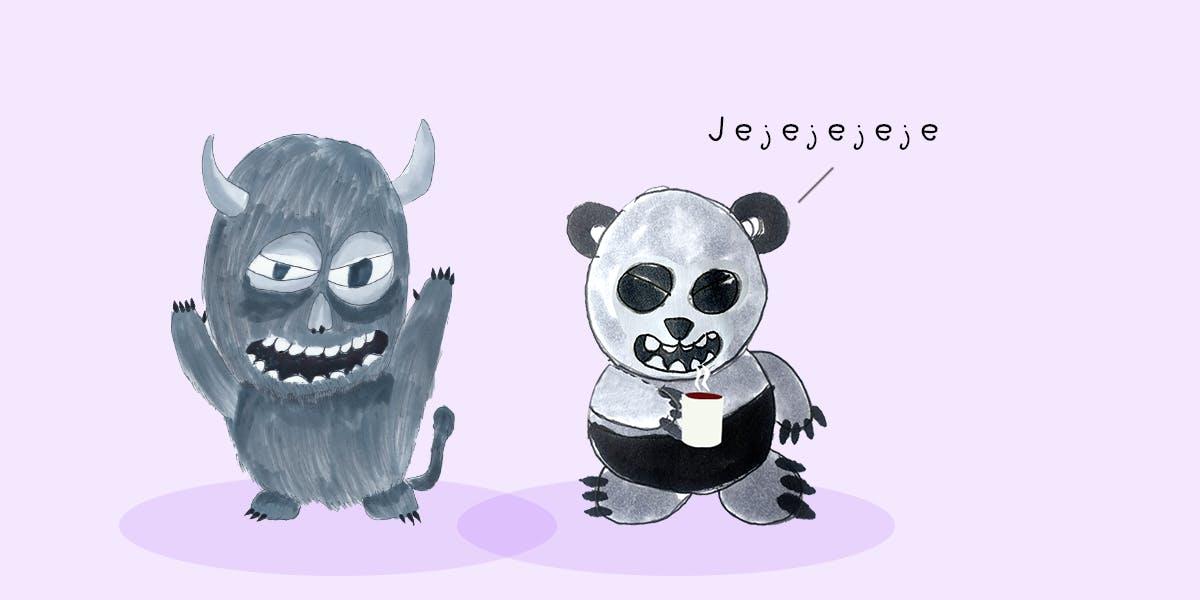 Garitma, Monstruo hablando mientras oso panda toma café, cómic dibujo marcador sobre papel