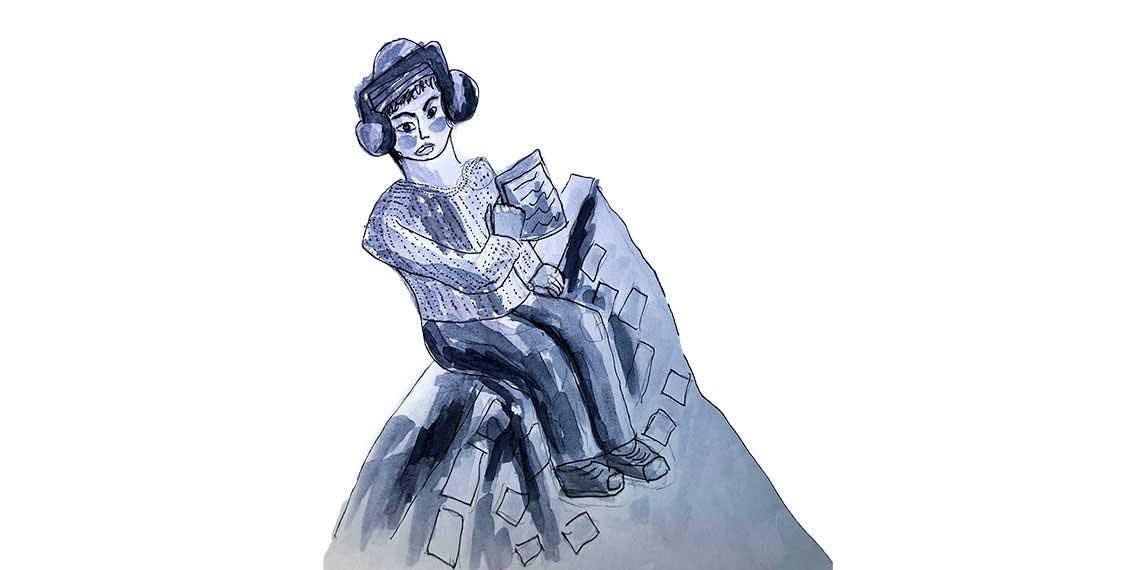 Garitma, hombre sentado leyendo, dibujo marcador sobre papel