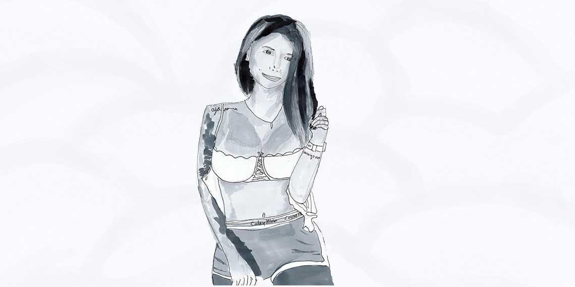 Garitma, mujer en bragas, dibujo marcador sobre papel