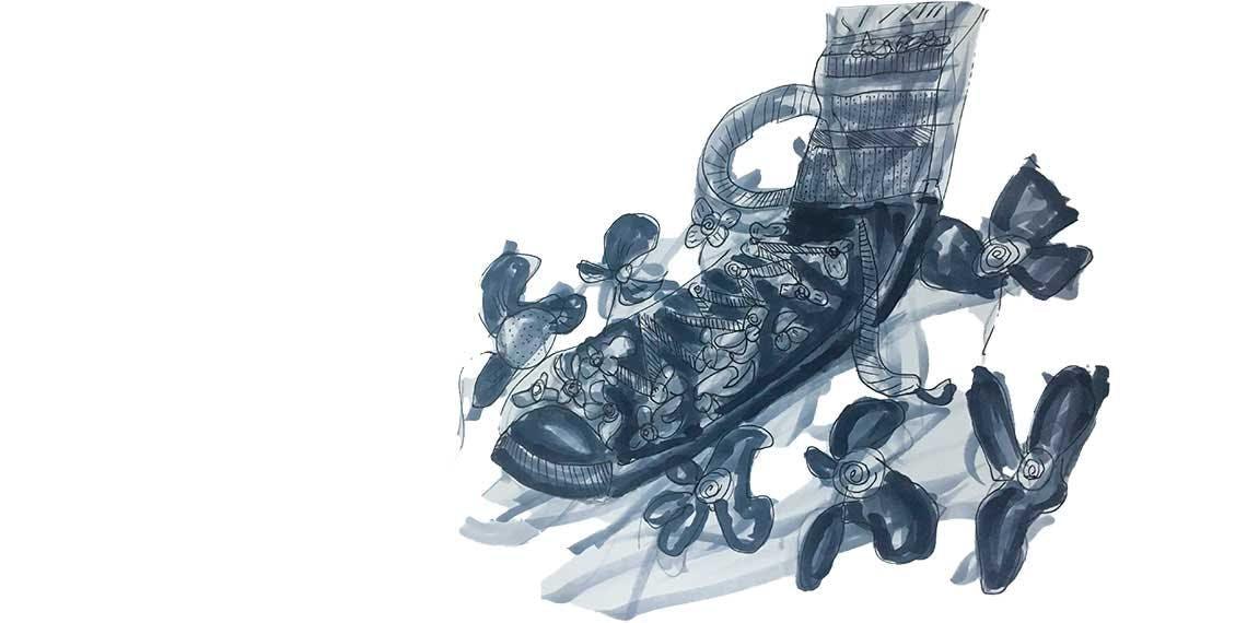 Garitma, zapato pisando flores, dibujo marcador sobre papel