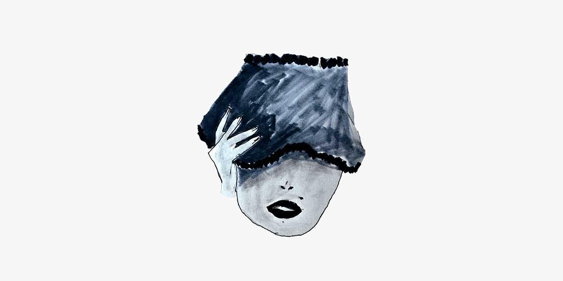 Garitma, cabeza de mujer cubriéndose los ojos, dibujo marcador sobre papel