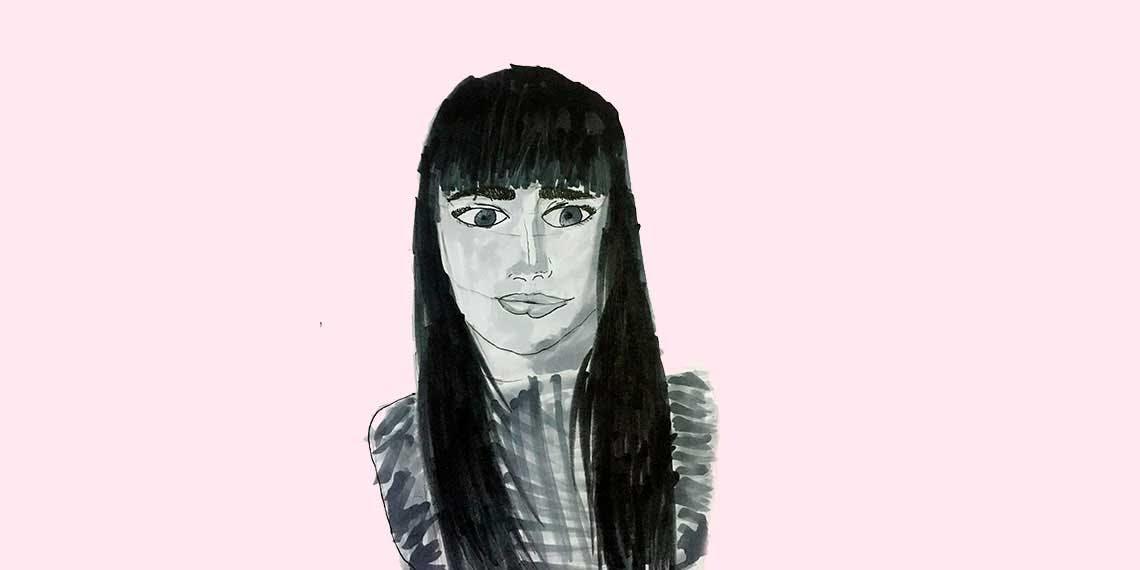 Garitma, mujer con pelo negro de frente, dibujo marcador sobre papel