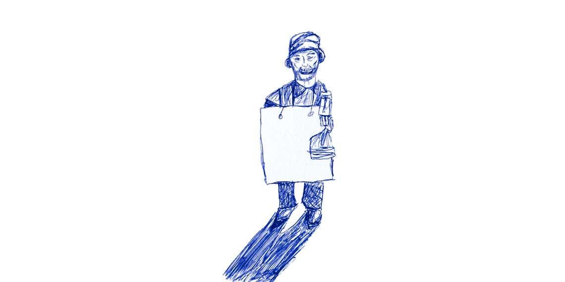 Garitma, hombre sosteniendo un cartel sobre su cuello, dibujo lapicero sobre papel